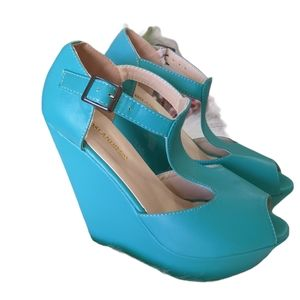 Ladies Teal Green Wedges